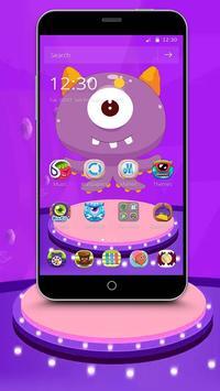 Purple Cartoon Monster Octopus Wallpaper Theme poster