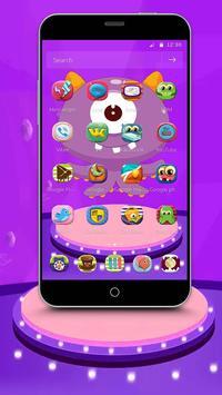 Purple Cartoon Monster Octopus Wallpaper Theme screenshot 1