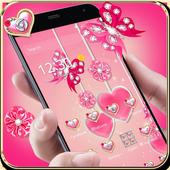 可爱粉色水晶蝴蝶爱心主题 icon