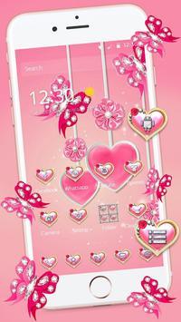 可爱粉色水晶蝴蝶爱心主题 poster
