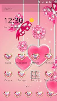 可爱粉色水晶蝴蝶爱心主题 screenshot 2
