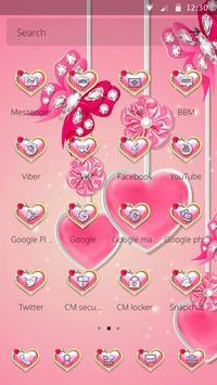 可爱粉色水晶蝴蝶爱心主题 screenshot 3