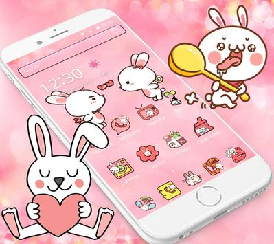 Love Rabbit Pink Theme Cute Bunny Iconpack poster