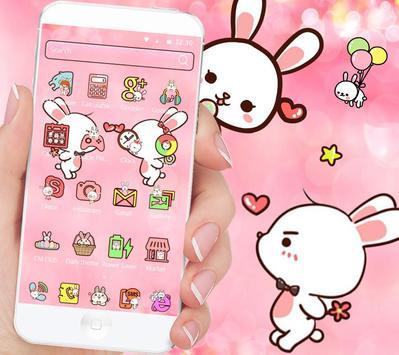 Love Rabbit Pink Theme Cute Bunny Iconpack screenshot 1