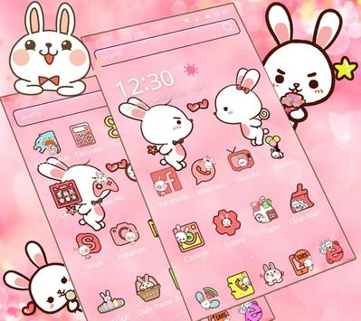 Love Rabbit Pink Theme Cute Bunny Iconpack screenshot 2