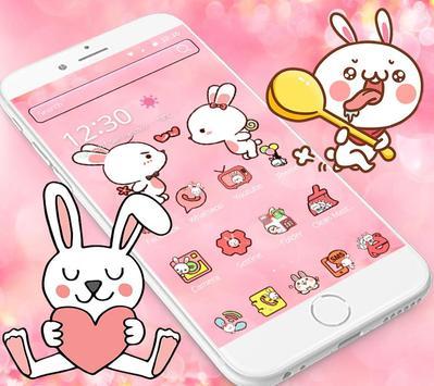 Love Rabbit Pink Theme Cute Bunny Iconpack screenshot 3