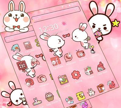Love Rabbit Pink Theme Cute Bunny Iconpack screenshot 5