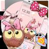 Cute Cartoon Owl Bowknot Theme 图标