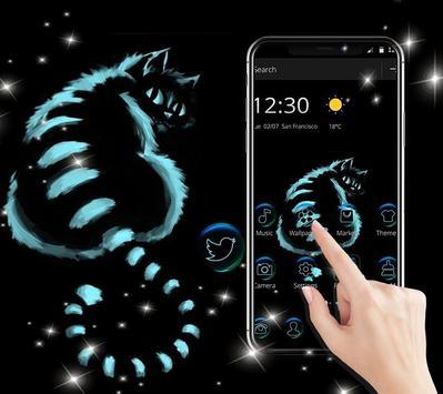 Night Dark Cheshire Kitty Theme screenshot 4