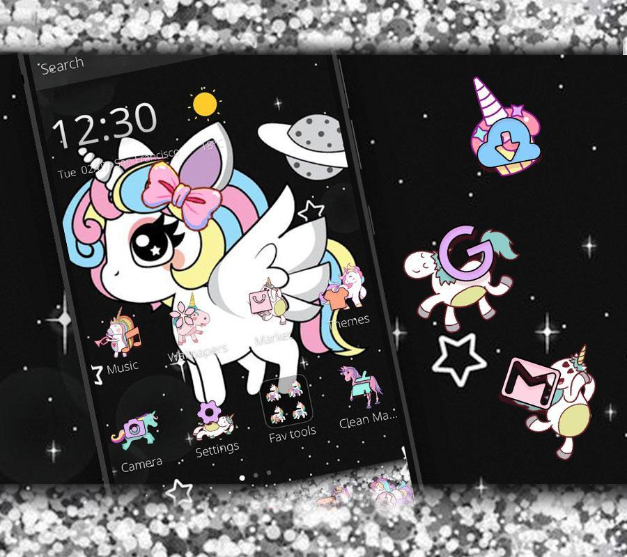 Glitter Galaxy Cute Rainbow Unicorn Theme For Android Apk Download