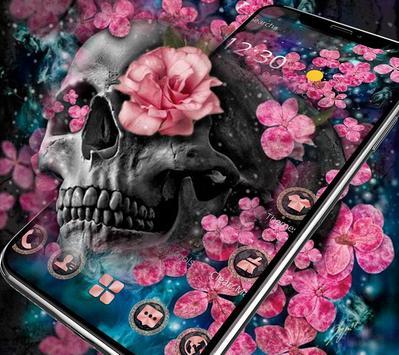 Pink Blossom Skull Theme poster