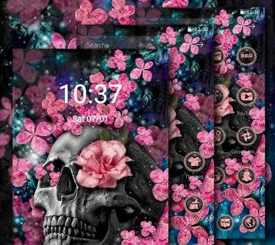 Pink Blossom Skull Theme screenshot 2