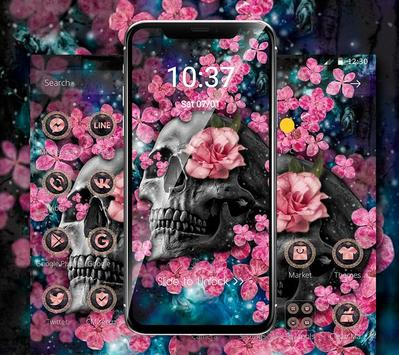 Pink Blossom Skull Theme screenshot 3