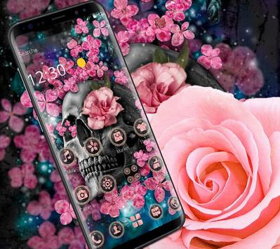 Pink Blossom Skull Theme screenshot 4