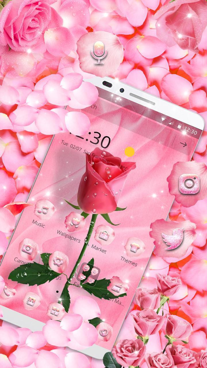 Pink Sparkle Diamond Flowers Tema Wallpaper Theme For