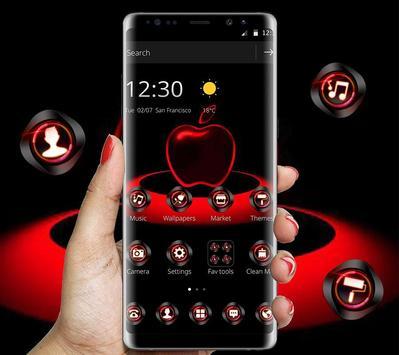 Red Neon Apple Dark Theme poster