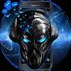 Blue Tech Metallic Skull Theme icono