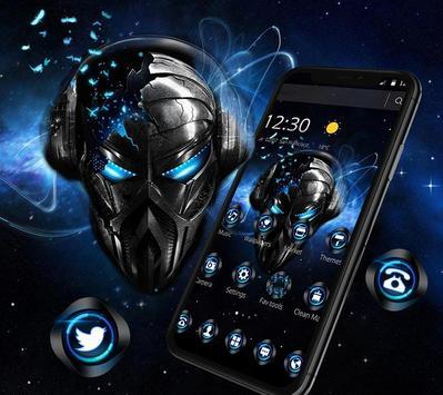 Blue Tech Metallic Skull Theme poster