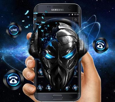 Blue Tech Metallic Skull Theme screenshot 1