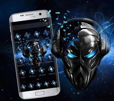 Blue Tech Metallic Skull Theme screenshot 2