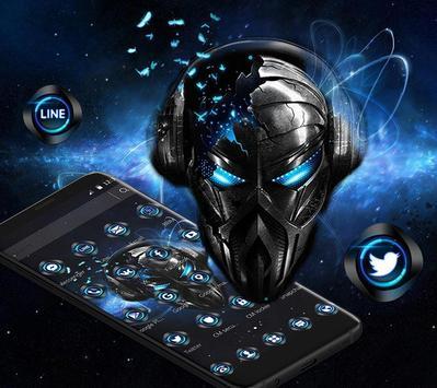 Blue Tech Metallic Skull Theme screenshot 3