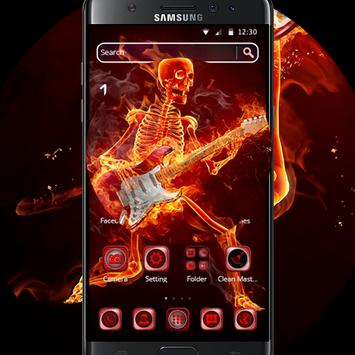 hell fire neon skull death guitar rock music theme for android apk download. Black Bedroom Furniture Sets. Home Design Ideas