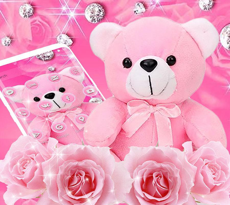 Pink Diamond Teddy Bear Theme For Android Apk Download