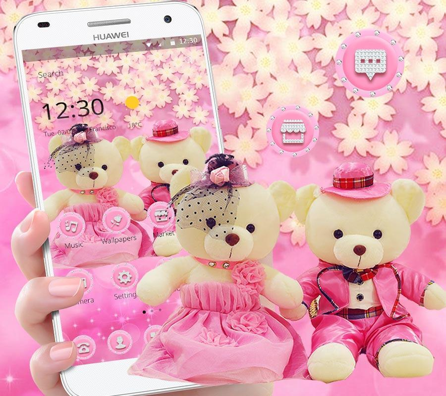 Cute Pink Teddy Bear Blooms Theme For Android Apk Download
