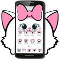 Cute White Marry Kitty Theme Pink Bowknot