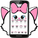 Cute White Marry Kitty Theme Pink Bowknot APK