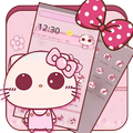 Pink Cute Kitty Bowknot Theme