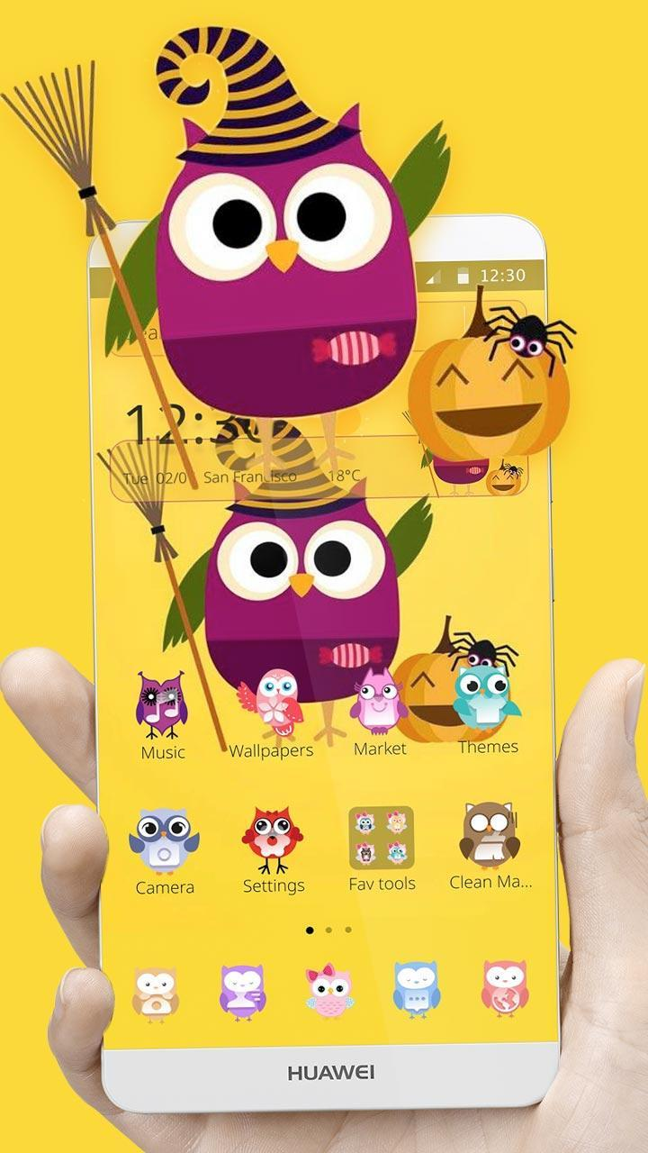 Cute Purple Owl Yellow Wallpaper Theme For Android Apk