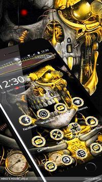 Luxury Golden Metal Skull Theme poster