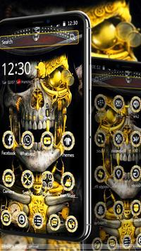 Luxury Golden Metal Skull Theme screenshot 1