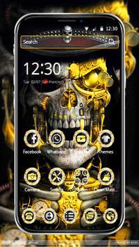 Luxury Golden Metal Skull Theme screenshot 2