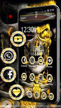 Luxury Golden Metal Skull Theme screenshot 3