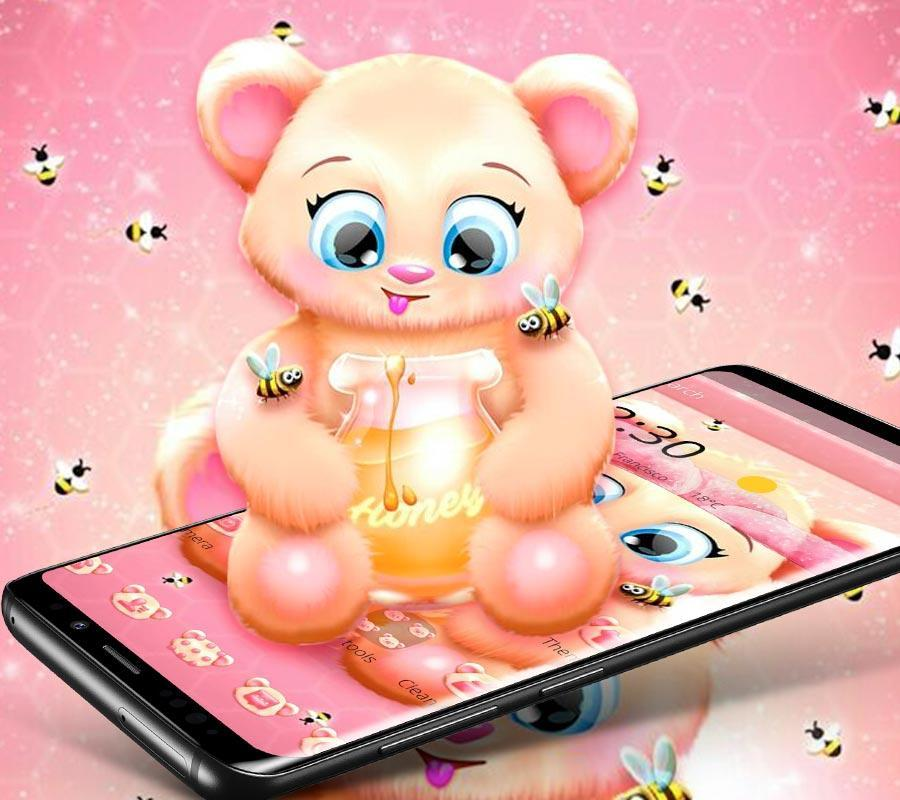 Pink Cartoon Teddy Bear Theme For Android Apk Download