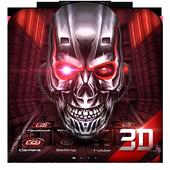 Neon Tech Skull 3D Theme icon