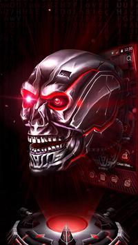 Neon Tech Skull 3D Theme poster