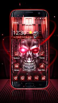 Neon Tech Skull 3D Theme apk screenshot