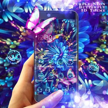 Purple Neon Butterfly 3D Theme poster