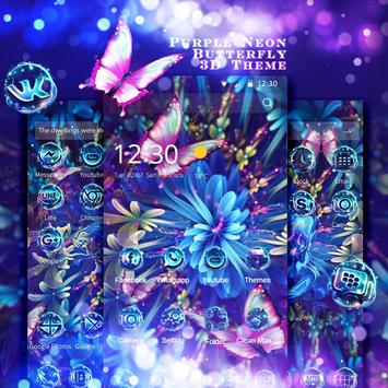 Purple Neon Butterfly 3D Theme screenshot 1