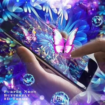 Purple Neon Butterfly 3D Theme screenshot 2