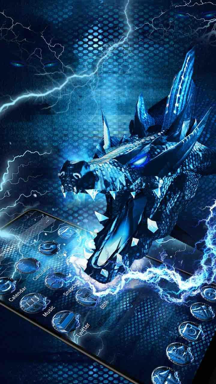 3D blue fire ice dragon Thunder theme for Android - APK Download