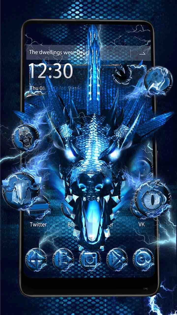 3d Blue Fire Ice Dragon Thunder Theme For Android Apk Download