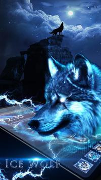 3D blue fire Ice wolf launcher theme screenshot 3