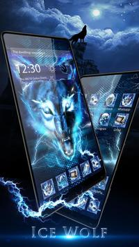 3D blue fire Ice wolf launcher theme poster