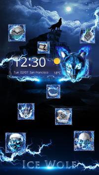3D blue fire Ice wolf launcher theme screenshot 2