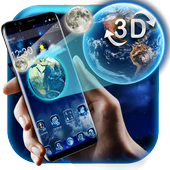 3D Earth and moon launcher theme icon