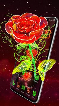 3D Neon Red Rose Launcher Theme poster